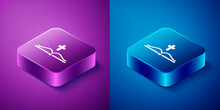 Isometric Holy Bible Book Icon Isolated On Blue And Purple Background. Square Button. Vector