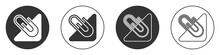 Black Paper Clip Icon Isolated On White Background. Circle Button. Vector