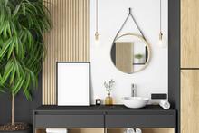 Mockup Frame In Bathroom, Frame Mockup, Interior Mockup, Mockup Poster, Mockup, Mock, Summer Mockup, Room Mockup,