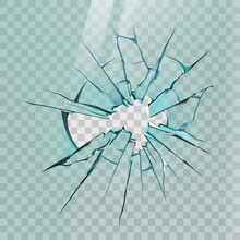 Broken Glass. Realistic Crack On Window, Ice Or Mirror With Sharp Shards And Hole. Smashed Screen Effect, Shattered Glass Wall Vector Mockup