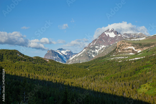 Morning view of Lone Walker and Rising Wolf mountains in Glacier National Park #434961564