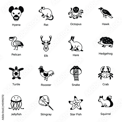 Photo Pack of Animal and Sea Creatures Solid Icons