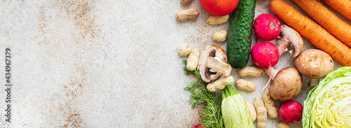 Tela healthy food fresh vegetables harvest new fruits organic, wholesome on the table healthy food meal snack copy space background rustic