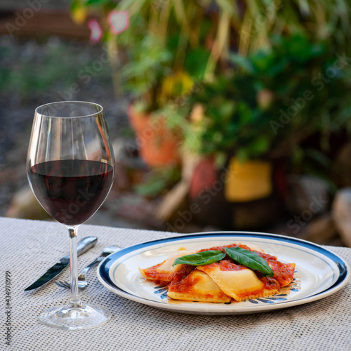 Ravioli plate with sauce , pasta free commercial use Wall mural