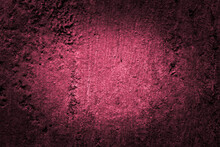 Old And Ruined Red Wall With A Shabby Paint. Close Up View, Central Illumination