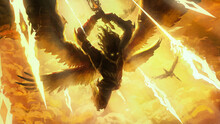 The Silhouette Of An Angel Frantically Rushing Into Battle With His Comrades, Behind Him Divine Light, Blue Flying Spiritual Spears Of Light, They Raise Their Sword To Strike. 2d Illustration.