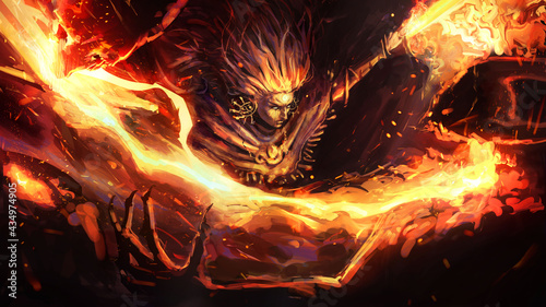 Photo The fire warrior shaman cuts off the heads of his demon enemies with a wide sweep of his paired fire swords, leaving a beautiful fiery splash