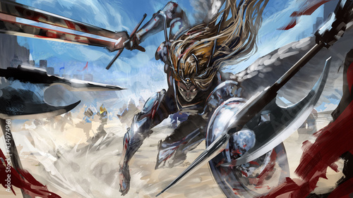 Photo Dynamically rushing into battle, the angel woman rushes into battle with hatred, holding her shiny sword and shield at the ready, behind her is the battle and the blue sky, halberdiers are on her way