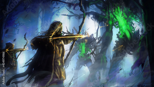 Photo Forest elf archers fight against the forest maddened trees, from which green poison oozes, they shoot them with magical glowing arrows