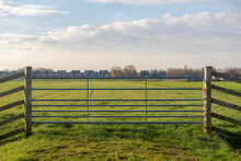 Countryside Landscape With Flat And Low Land, Typical Dutch Polder And Water Land, Green Meadow And Wooden Fence, Small Canal Or Ditch On The Field Along The Road, Noord Holland, Netherlands.