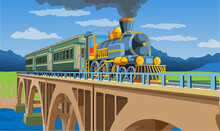Vector Coloful Page With 3d Model Train On The Bridge. Beautiful Vector Illustration With Train Travel. Vintage Retro Train Graphic Vector