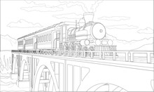 Vector Coloring Page With 3d Model Train On The Bridge. Beautiful Vector Illustration With Train Travel. Vintage Retro Train Graphic Vector