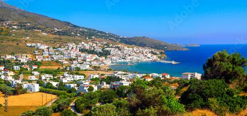 фотография panoramic view of the fishing port of Batsi, on the island of Andros, famous Cyc