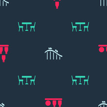 Set Bottles Ball, Roller Coaster And Picnic Table With Chairs On Seamless Pattern. Vector