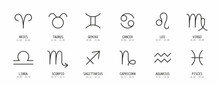 Set Of Astrological Zodiac Symbols. Horoscope Zodiac Signs