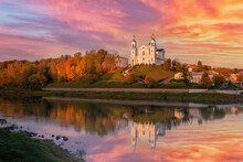 The City Of Vitebsk And The Dvina River At Sunset On An Autumn Evening. View Of The Assumption Cathedral.