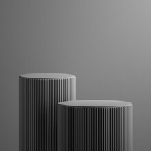 3d Render, Abstract Grey Background. Modern Minimal Showcase Scene With Two Empty Cylinder Pedestals For Product Presentation