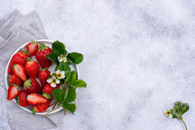 Strawberry With Leaves And Flowers