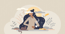 Daydreaming Imagination And Inspirational Thinking Scene Tiny Person Concept. Relax And Think About Vision, Wishes And Life Future Vector Illustration. Fantasy And Brainstorm Process Visualization.