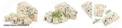 Fotografia, Obraz Blue cheese with rosemary isolated on white background with full depth of field