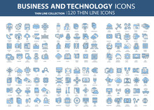Business And Marketing, Programming, Data Management, Internet Connection, Social Network, Computing, Information. Icons Set. Flat Vector Illustration