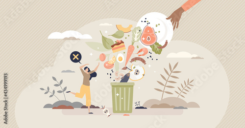 Cuadros en Lienzo Food waste and meal leftovers garbage reduce awareness tiny person concept
