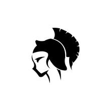 A Woman Female Spartan Or Trojan Warrior.Helmet Of Knight Logo. Armor Icon. Warrior Symbol