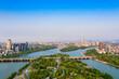 Urban environment at the intersection of Jinhua River,Yangjiang River and Wuyi River, Jinhua City, Zhejiang Province, China