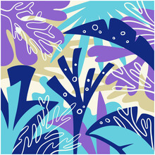 Design With Underwater Coral Motifs For Graphic Backgrounds, Mural Prints, Invitation Cards, Wallpaper, Fabric Prints, And Industrial Uses. Modern And Minimalist Latest Vector Coral.