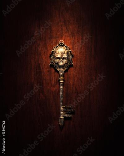 Stampa su Tela 3d Rendering, illustration of a skeleton shaped old golden key on a dark background