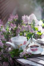 Tea Party In A Lilac Garden