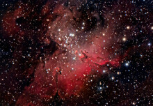 The Eagle Nebula (Messier 16 Or NGC 6611) With The Pillars Of Creation.  Is A Young Open Cluster Of Stars In The Constellation Serpens