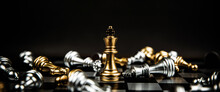 Close Up King Chess Standing Winner To Fighting Challenge Battle On Chess Board Concepts Of Leadership And Business Strategy And Human Personal Organization Risk Management.