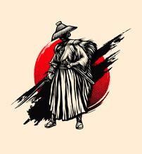 Samurai Style Ink Vintage Vector