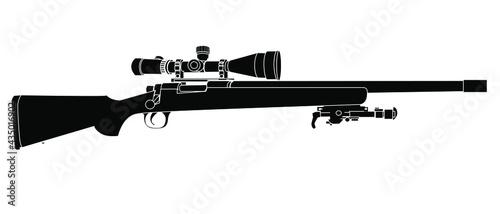 Fotografia sniper rifle silhouette isolated on white