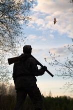 A Hunter With A Rifle Looks At A Flying Woodcock In The Evening Twilight