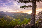 Fototapeta  - Zachód słońca nad Tatrami podziwiany z Nosala. Zakopane - Kalatówki, Dolina Bystrej