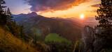 Fototapeta Na ścianę - Zachód słońca nad Tatrami podziwiany z Nosala. Zakopane - Kalatówki, Dolina Bystrej