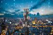 Leinwandbild Motiv Telecommunication tower with 5G cellular network antenna on night city background, Digital big data concept