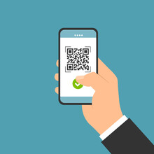 Flat Design Illustration Of Male Hand Holding Touch Screen Mobile Phone. QR Code Scan For Payment, Business Vector