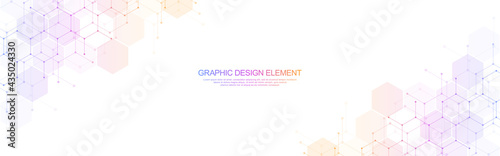 Fotografiet Abstract geometric background with hexagons pattern