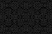 3D Volumetric Convex Embossed Geometric Black Background. Ethnic Pattern With National Oriental Flavor. Abstract Stylish Ornament For Wallpaper, Website, Textile, Presentation.