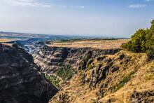 Top View Of The Kasakh River Canyon Near Sagmosavank Monastery On The Eastern Outskirts Of Sagmosavan Village In Aragatsotn District. Armenia