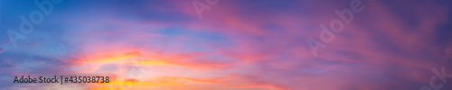 Dramatic panorama sky with cloud on sunrise and sunset time. Panoramic image..