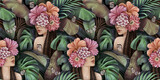 Tropical seamless pattern with beautiful women, butterflies, plumeria, cactus, hibiscus flowers, monstera, palm, banana leaves. Hand-drawn vintage 3D illustration. Good for wallpapers, fabric printing - 435039977