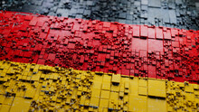 Flag Of Germany Rendered In A Futuristic 3D Style. German Technology Concept. Tech Background.
