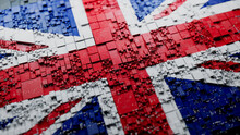 Flag Of United Kingdom Rendered In A Futuristic 3D Style. British Technology Concept. Tech Wallpaper.