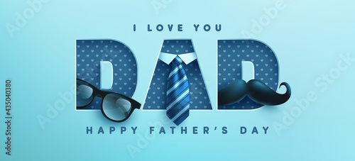 Fotografie, Tablou Father's Day poster or banner template with necktie,glasses and mustache on blue