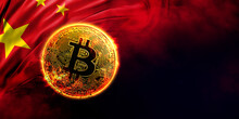 Burning Golden Bitcoin Coin On The Chinese Flag Background
