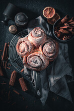 Traditionally Cinnamon Rolls With Cocoa And Sugar. Popular Swedish Dessert.
